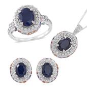 Kanchanaburi Blue Sapphire, Multi Sapphire, White Zircon Sterling Silver Earrings, Ring (Size 10) and Pendant With Chain (18 in) TGW 10.010 cts.