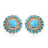Arizona Sleeping Beauty Turquoise, White Topaz 14K YG Over Sterling Silver Stud Earrings TGW 3.09 cts.