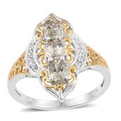 Turkizite, White Topaz 14K YG and Platinum Over Sterling Silver Ring (Size 7.0) TGW 1.24 cts.