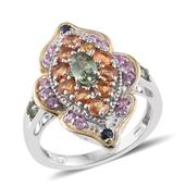 Multi Sapphire 14K YG and Platinum Over Sterling Silver Ring (Size 7.0) TGW 3.11 cts.