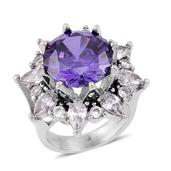 Simulated Purple and White Diamond Stainless Steel Ring (Size 9.0) TGW 15.00 cts.