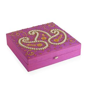 Buyer's Pick Handcrafted Fuchsia Paisley Embroidered Ring Box (Approx 75-80 Rings) (10x2.5x10 in)