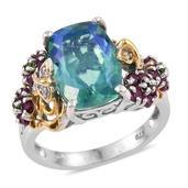 Peacock Quartz, Multi Gemstone 14K YG and Platinum Over Sterling Silver Split Ring (Size 9.0) TGW 7.030 cts.