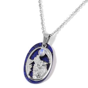 Lapis Lazuli, Opalite Stainless Steel Wolf Pendant With Chain (20 in) TGW 22.50 cts.