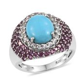 Arizona Sleeping Beauty Turquoise, White Topaz, Orissa Rhodolite Garnet Platinum Over Sterling Silver Ring (Size 8.0) TGW 5.90 cts.