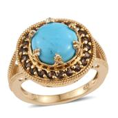 Arizona Sleeping Beauty Turquoise, Brazilian Smoky Quartz 14K YG Over Sterling Silver Split Ring (Size 6.0) TGW 4.500 cts.