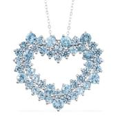 Cambodian Blue Zircon Platinum Over Sterling Silver Heart Pendant With Chain (20 in) TGW 10.080 Cts.