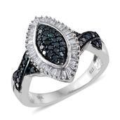 Blue Diamond (IR), Diamond Platinum Over Sterling Silver Split Ring (Size 9.0) TDiaWt 0.74 cts, TGW 0.740 cts.