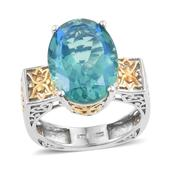 Peacock Quartz 14K YG and Platinum Over Sterling Silver Euro Style Openwork Solitaire Ring (Size 7.0) TGW 12.000 cts.