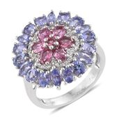 Pink Tourmaline, Tanzanite, White Topaz Platinum Over Sterling Silver Cluster Ring (Size 5.0) TGW 4.69 cts.