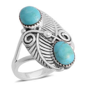 Santa Fe Style Kingman Turquoise Sterling Silver Floral Bypass Ring (Size 10.0) TGW 6.00 cts.
