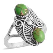 Santa Fe Style Mojave Green Turquoise Sterling Silver Ring (Size 10.0) TGW 6.00 cts.