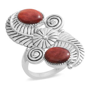 Santa Fe Style Spiny Oyster Shell Red Sterling Silver Ring (Size 7.0)