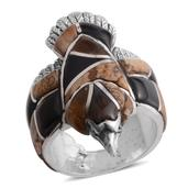 Santa Fe Style South African Tigers Eye, Multi Gemstone Sterling Silver Eagle Men's Ring (Size 10.0) TGW 4.750 cts.