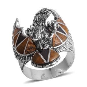 Santa Fe Style Multi Gemstone Sterling Silver Eagle Men's Ring (Size 14.0) TGW 22.500 cts.