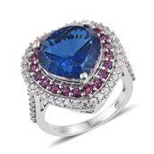 Brazilian Azul Quartz, Orissa Rhodolite Garnet, White Zircon Platinum Over Sterling Silver Heart Ring (Size 9.0) TGW 13.16 cts.