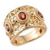Orange Sapphire, Orissa Rhodolite Garnet 14K YG Over Sterling Silver Openwork Wide Band Ring (Size 6.0) TGW 2.20 cts.