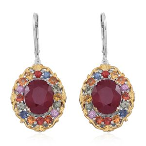 Niassa Ruby, Multi Sapphire 14K YG Over and Sterling Silver Lever Back Earrings TGW 12.060 Cts.