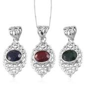 Mega Doorbuster Artisan Crafted Ruby, Emerald and Blue Sapphire (Color Enhenced) Sterling Silver Set of 3 Openwork Pendant With Chain (20 in) Total Gem Stone Weight 8.880 Carat