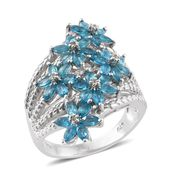 Malgache Neon Apatite, White Zircon Platinum Over Sterling Silver Blossoming Bouquet Ring (Size 7.0) TGW 2.90 cts.