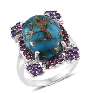 Mojave Blue Turquoise, Multi Gemstone Platinum Over Sterling Silver Ring (Size 7.0) TGW 14.35 cts.