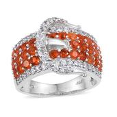 Jalisco Fire Opal, White Zircon Platinum Over Sterling Silver Buckle Ring (Size 6.0) TGW 2.500 cts.