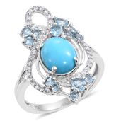 Arizona Sleeping Beauty Turquoise, Electric Blue Topaz, White Zircon Platinum Over Sterling Silver Openwork Split Ring (Size 9.0) TGW 4.01 cts.