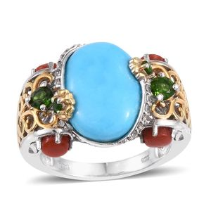Arizona Sleeping Beauty Turquoise, Multi Gemstone 14K YG and Platinum Over Sterling Silver Openwork Ring (Size 9.0) TGW 8.07 cts.