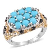 Arizona Sleeping Beauty Turquoise, Thai Black Spinel 14K YG and Platinum Over Sterling Silver Openwork Cluster Ring (Size 8.0) TGW 2.800 cts.