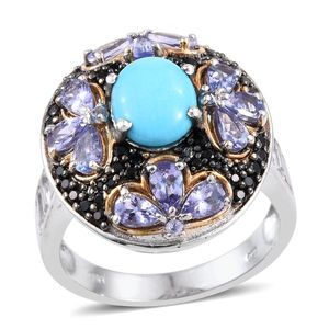 Arizona Sleeping Beauty Turquoise, Multi Gemstone 14K YG and Platinum Over Sterling Silver Cluster Ring (Size 12.0) TGW 7.48 cts.