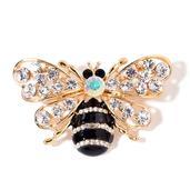 White and Black Austrian Crystal Enameled Goldtone Bee Brooch
