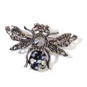 Gray Austrian Crystal, Black Chroma Dark Silvertone Bee Brooch