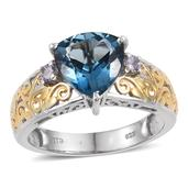 London Blue Topaz, Tanzanite 14K YG and Platinum Over Sterling Silver Openwork Ring (Size 9.0) TGW 4.160 cts.