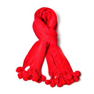 J Francis - Red 100% Acrylic Scarf with Fur Balls (71x16 in)