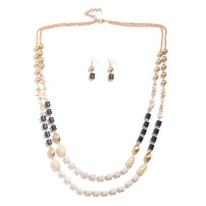 White Howlite, Black and Golden Chroma Goldtone Earrings and Necklace (36-38 in) TGW 8.00 cts.