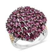 Orissa Rhodolite Garnet 14K YG and Platinum Over Sterling Silver Cluster Ring (Size 7.0) TGW 9.470 cts.
