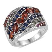 Multi Sapphire, White Topaz Platinum Over Sterling Silver Ring (Size 5.0) TGW 3.550 cts.