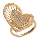 Simulated Diamond Goldtone Heart Ring (Size 7.0) TGW 5.85 cts.