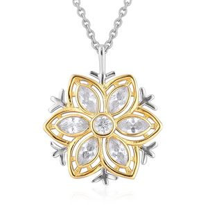 Simulated White Diamond 14K YG Over and Sterling Silver Pendant With Stainless Steel Chain (20 in) TGW 2.200 Cts.