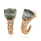 KARIS Collection - Green Zebra Jasper ION Plated 18K YG Brass J-Hoop Earrings TGW 14.00 cts.