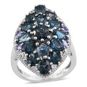 London Blue Topaz, Tanzanite, White Topaz Platinum Over Sterling Silver Ring (Size 7.0) TGW 8.070 cts.