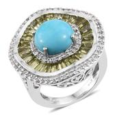 Arizona Sleeping Beauty Turquoise, Hebei Peridot, White Zircon Platinum Over Sterling Silver Statement Ring (Size 6.0) TGW 6.57 cts.