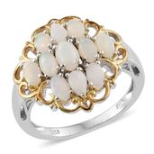 Australian White Opal 14K YG and Platinum Over Sterling Silver Ring (Size 7.0) TGW 2.23 cts.