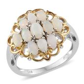 Australian White Opal 14K YG and Platinum Over Sterling Silver Ring (Size 9.0) TGW 2.23 cts.