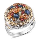 Multi Sapphire 14K YG and Platinum Over Sterling Silver Openwork Cluster Statement Ring (Size 11.0) TGW 4.260 cts.