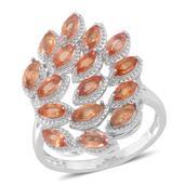 Orange Sapphire Sterling Silver Openwork Split Ring (Size 10.0) TGW 2.880 cts.