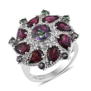 Northern Lights Mystic Topaz, Orissa Rhodolite Garnet, White Topaz Platinum Over Sterling Silver Statement Ring (Size 6.0) TGW 7.06 cts.