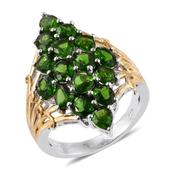Russian Diopside 14K YG and Platinum Over Sterling Silver Elongated Ring (Size 6.0) TGW 5.150 cts.