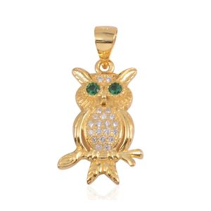 Simulated Green and White Diamond 14K YG Over Sterling Silver Owl Pendant Without Chain TGW 0.53 cts.