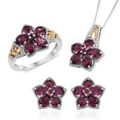 Orissa Rhodolite Garnet 14K YG and Platinum Over Sterling Silver Earrings, Ring (Size 8) and Pendant With Chain (20 in) TGW 9.080 cts.